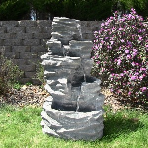 Outdoor Classics 5-Level Rock Pond Fountain with LED Lights