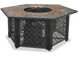 Outdoor Fire Pit with Slate Tile Mantel