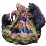 2 Bears Climbing on Rainforest Fountain w/ LED Lights
