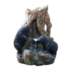 2 Bears Log Waterfall Fountain w/ LED Light
