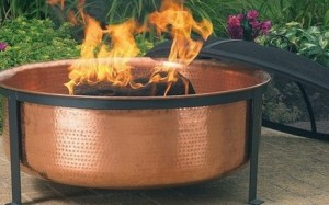 Hammered Copper Fire Pit with Standit