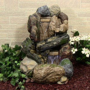 Rock and Wood Fountain w/LED Light