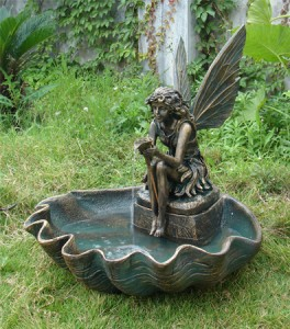 Outdoor Classics Fairy Shell Outdoor Fountain