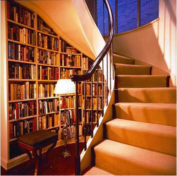 Library Under Stairs