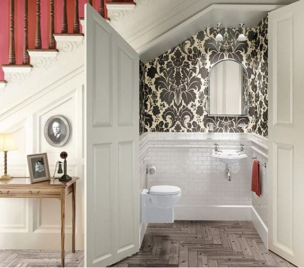 Powder Room Under Stairs